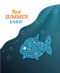 Summer Vector Illustration With Doodle Fish, Rays,