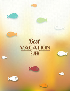 Summer Vector Illustration With Doodle Fishes, Water, Sea,