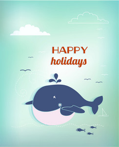 Summer Vector Illustration With Fishes, Clouds, Sun, Sea, Birds