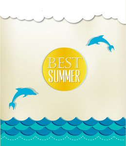 Summer Vector Illustration With Fishes, Clouds,sun,sea,dolphin