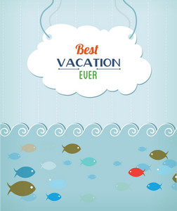 Summer Vector Illustration With Fishes, Doodle Frame ,water