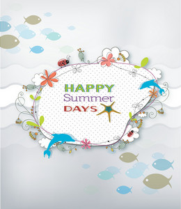Summer Vector Illustration With Floral  Frame, Water, Fishes