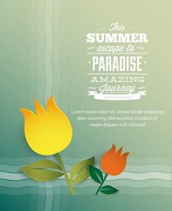 Summer Vector  Illustration With Flower