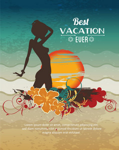 Summer Vector  Illustration With Girl, Sunset, Sun, Waves, Sea