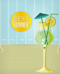 Summer Vector Illustration With Glass Of Juice, Glass,