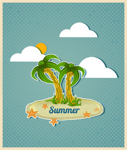 Summer Vector  Illustration With Island And Palm Tree