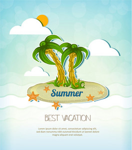Summer Vector  Illustration With Island