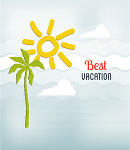 Summer Vector Illustration With Palm Tree And Sun