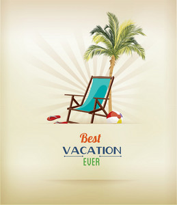 Summer Vector Illustration With Palm Tree, Chair, Slippers