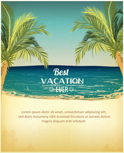 Summer Vector  Illustration With Palm Tree