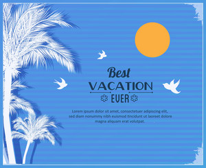 Summer Vector  Illustration With Palm Tree,