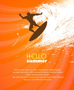 Summer Vector  Illustration With Palm Treem , Sunset, Surf Board, People, Waves