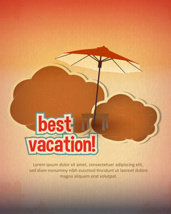 Summer Vector  Illustration With  Parasol, Clouds
