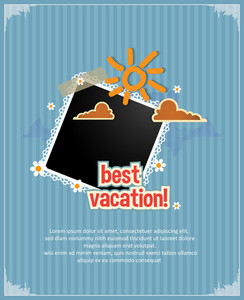 Summer Vector  Illustration With  Photo Frame, Doodle Sun, Clouds