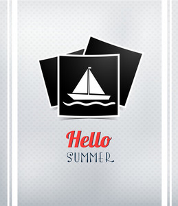 Summer Vector  Illustration With Photo Frame, Sailing Ship