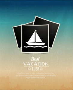 Summer Vector  Illustration With Photo Frame , Sailing Ship
