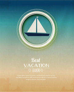 Summer Vector  Illustration With Sailing Ship