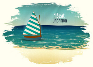 Summer Vector  Illustration With Sailing Ship,sea