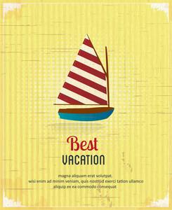 Summer Vector  Illustration With  Sailing Shop