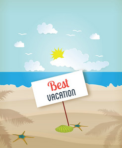 Summer Vector Illustration With Sand, Sea, Sky, Palm, Tree, Clouds, Sun