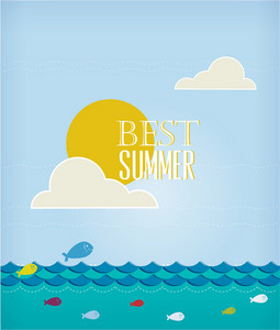 Summer Vector Illustration With Sea, Clouds, Sun, Fishes
