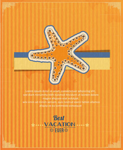Summer Vector  Illustration With  Sea Star