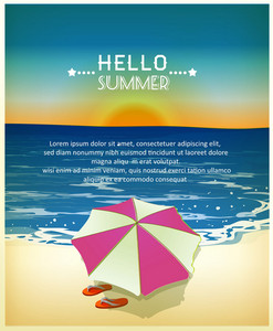 Summer Vector  Illustration With Sea, Umbrella, Sun
