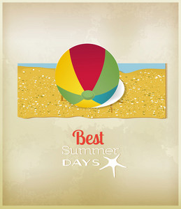Summer Vector  Illustration With   Sticker Ball