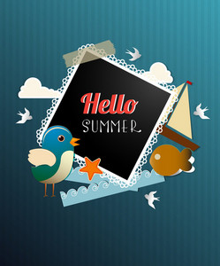 Summer Vector Illustration With Sticker Bird, Clouds, Photo Frame, Water, Star, Fishes, Sailing Boat
