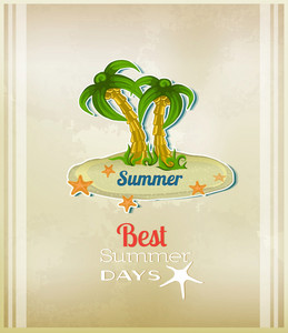 Summer Vector  Illustration With  Sticker Island