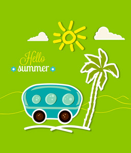 Summer Vector Illustration With Sticker Trailer, Palm Tree, Sun , Clouds