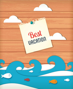 Summer Vector Illustration With Sticker Waves, Clouds , Fishes And Paper