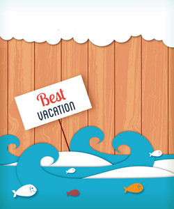 Summer Vector Illustration With Sticker Waves, Clouds , Fishes And Sign