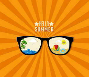 Summer Vector Illustration With Sun Glasses