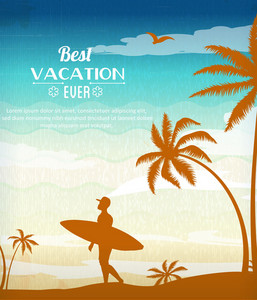 Summer Vector  Illustration With Surf Board, People, Palm Tree