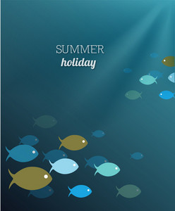 Summer Vector Illustration With Water , Fishes And Rays