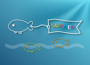 Summer Vector Illustration With Water, Fishes, Sea, Rays