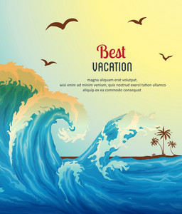 Summer Vector  Illustration With Waves, Sea, Bird