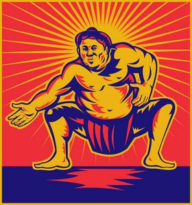 Sumo Wrestler Crouching Retro Woodcut