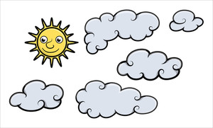 Sun And Clouds - Cartoon Vector Illustration