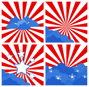 Sunburst Set Patriotic Usa Theme Vector