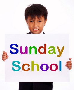 Sunday School Sign Showing Christian Kids Activity