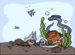 Sunken Treasure In Sea Bottom - Vector Cartoon Illustration