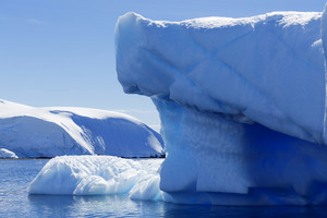 Sunlit iceberg along a snowy coast under a blue sky
