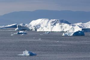 Sunlit iceberg along the coast