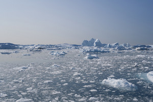 Sunlit icebergs and ice floe in early morning