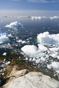 Sunlit icebergs in icy waters along the coast