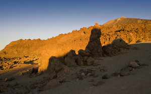 Sunlit rocks on a barren landscape