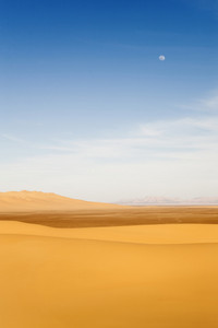 Sunlit sand dunes in the desert under a faint full moon