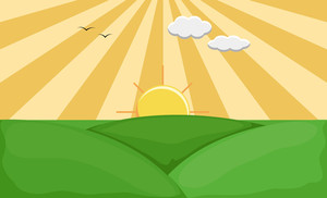 Sunrise - Cartoon Background Vector